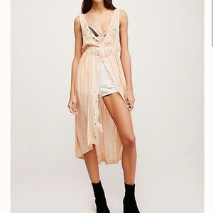FREE PEOPLE Synthetic Riptide Maxi Button Down